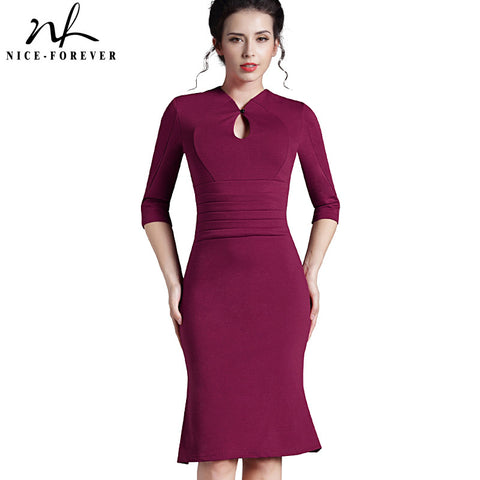 Nice-forever Autumn&Winter Solid Elegant dress work Charming Women plus size Keyhole half sleeve office Mermaid Midi Dress 823 - Monika's Dresses