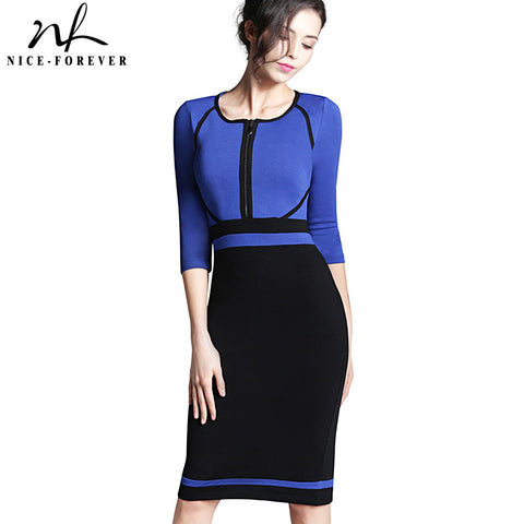 Nice-forever Spring Work Dress Patchwork Round Neck 3/4 Sleeve Business Fashion Sheath Bodycon Female Casual Pencil Dress B235 - Monika's Dresses