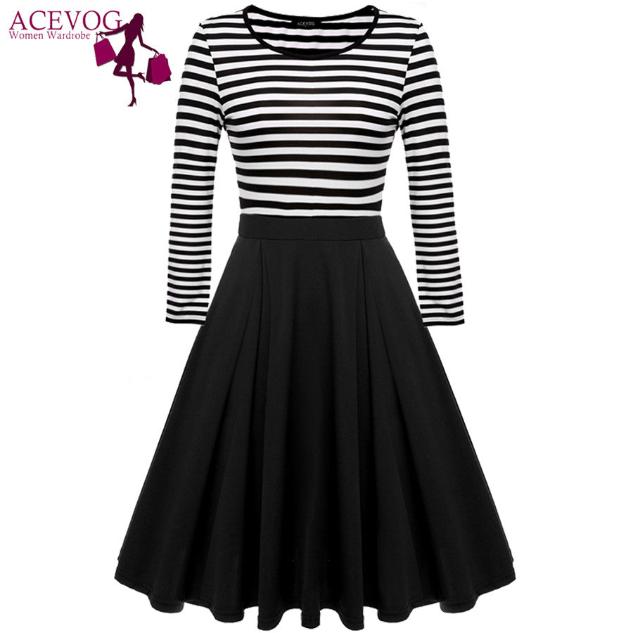 ACEVOG women striped dress autumn winter big swing Casual knee length High Waist long sleeve elegant midi dresses vestido - Monika's Dresses