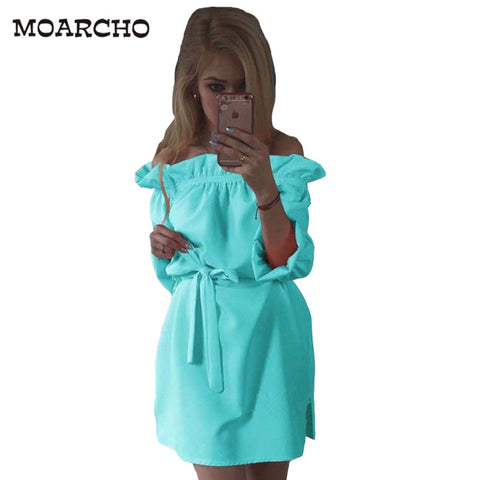 Women Spring Autumn Chiffon Dress Fashion Ruffles Slash Neck Bow Belt Dresses Vintage Puff Sleeve Kawaii Loose Straight Dress - Monika's Dresses