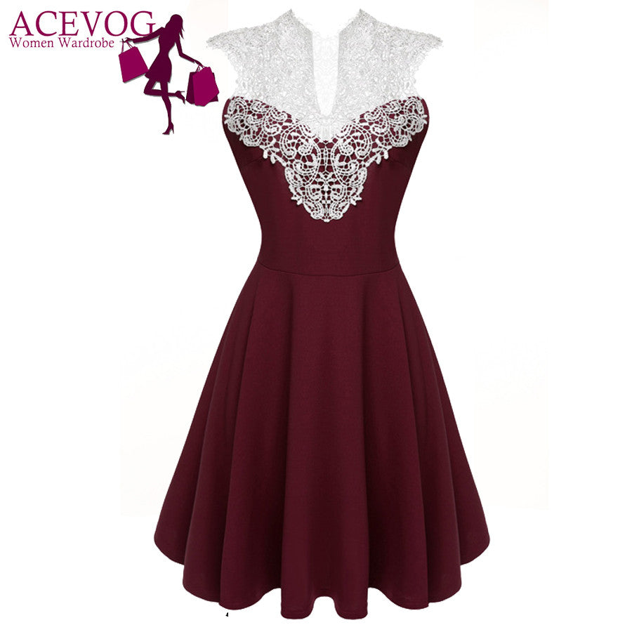 ACEVOG Women Summer Lace Dress Sexy vestidos 2017 Lady Sleeveless Lace Patchwork High Waist Pleated Casual Knee Length Dress - Monika's Dresses
