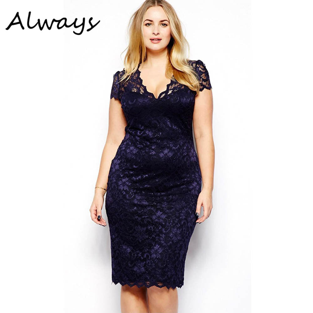 Autumn Summer Plus Size Sexy Women V-neck Lace Stretch Cocktail Party Bodycon Pencil Dress M-XXXL - Monika's Dresses