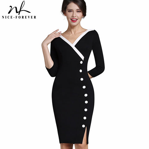Nice-forever  Mature Elegant Sexy V-neck Stylish Button Work dress Office Bodycon Female 3/4 Sleeve Sheath Woman Dress B335 - Monika's Dresses