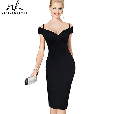 Nice-forever New Sexy Elegant Solid Stylish Casual Work Strap Slash Neck Bodycon Knee Midi Women Formal Pencil Dress B309 - Monika's Dresses