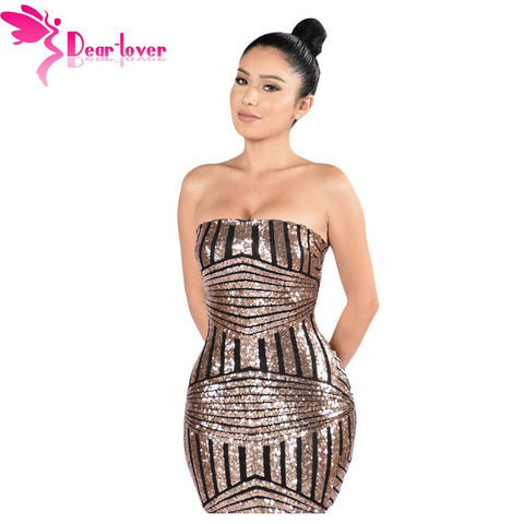 Dear Lover New European Women Sexy Party Robe Rose Black Sequined Strapless Nightclub Dress Vestido Lentejuelas Feminino LC22866