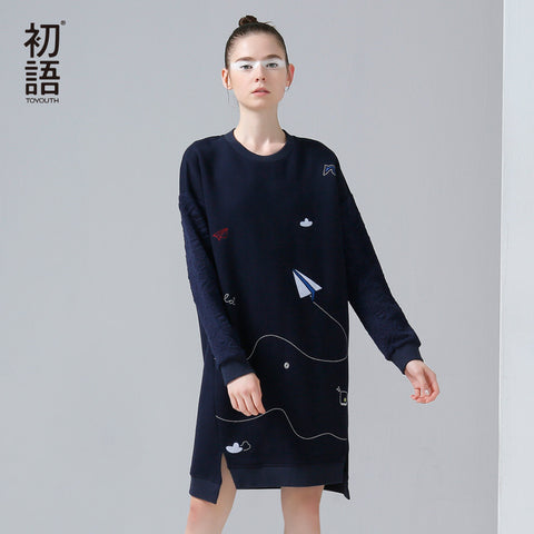 Toyouth 2017 New Arrival Women Autumn Dress Casual Funny Emboridery Pattern Loose Dresses Female O-Neck Long Sleeve Dresses