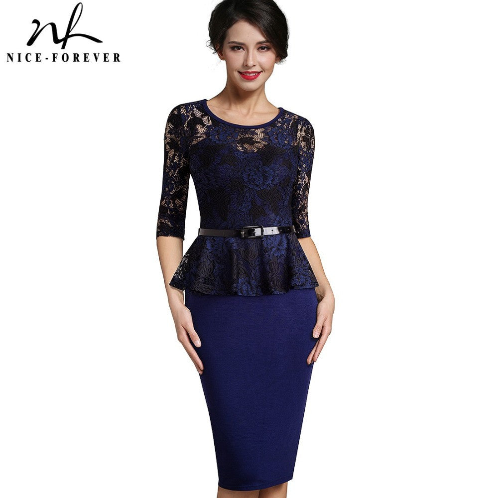 Nice-forever Vintage Ladylike Sexy Lace top 3/4 Sleeve O-Neck Peplum Tunic Bodycon Women Wear to Work Office Pencil Dress B360 - Monika's Dresses
