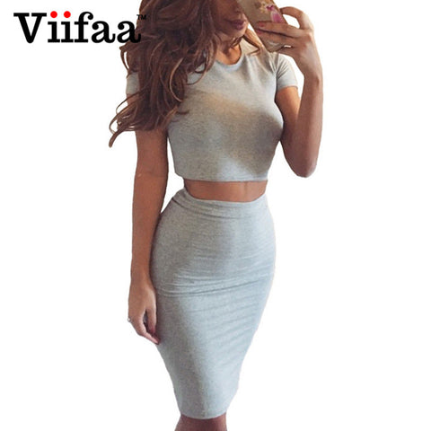 Viifaa Summer Women Club Dress Two Piece Outfits Bodycon Midi Dress Sexy Party Night Club Vestidos Gray Dresses - Monika's Dresses