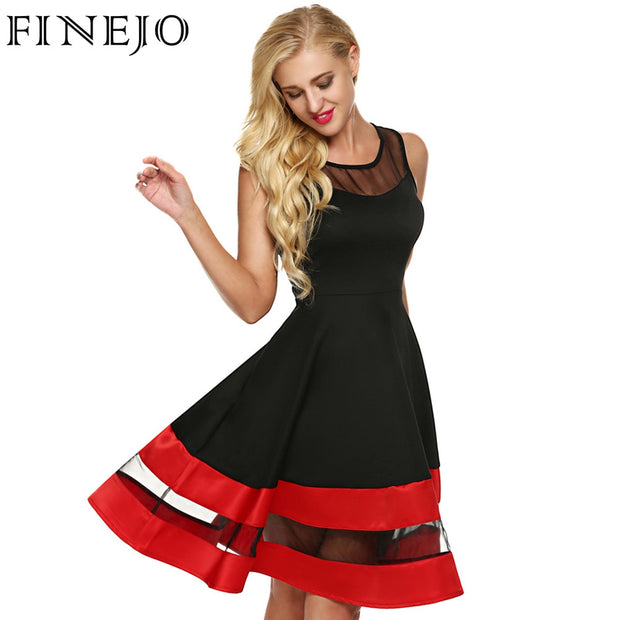 FINEJO Women Fashion Sleeveless Party Dress See-through Organza