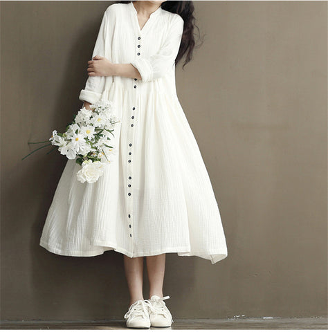 Cotton Linen White Color Women Dress 2016 Spring New  Long Sleeve Stand Neck Loose Plus Size Bat Sleeve Irregular Dress