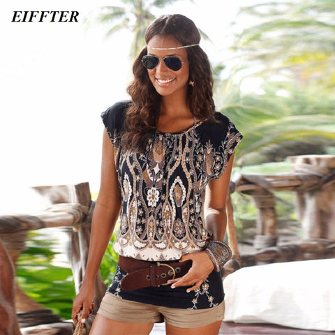 EIFFTER Summer Women Dress 2016 New Casual O-neck Short Sleeve Print Sexy Mini Bodycon Dresses Plus Size 0067 - Monika's Dresses