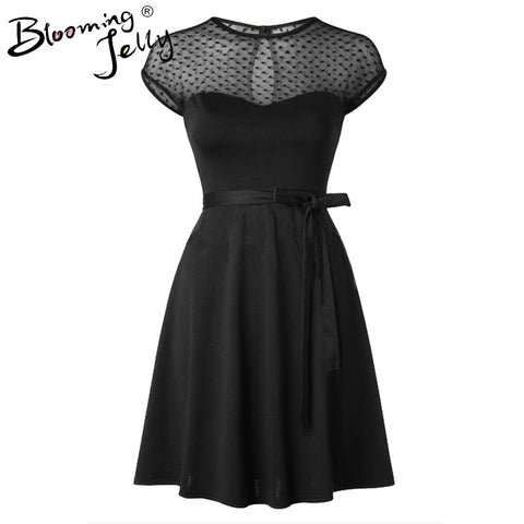 Heart Pattern Gauze Mesh Summer Dress Patchwork Swing Cocktail Bow Belt Women Little Black Dress 2016 Fashion Women Clothing New - Monika's Dresses