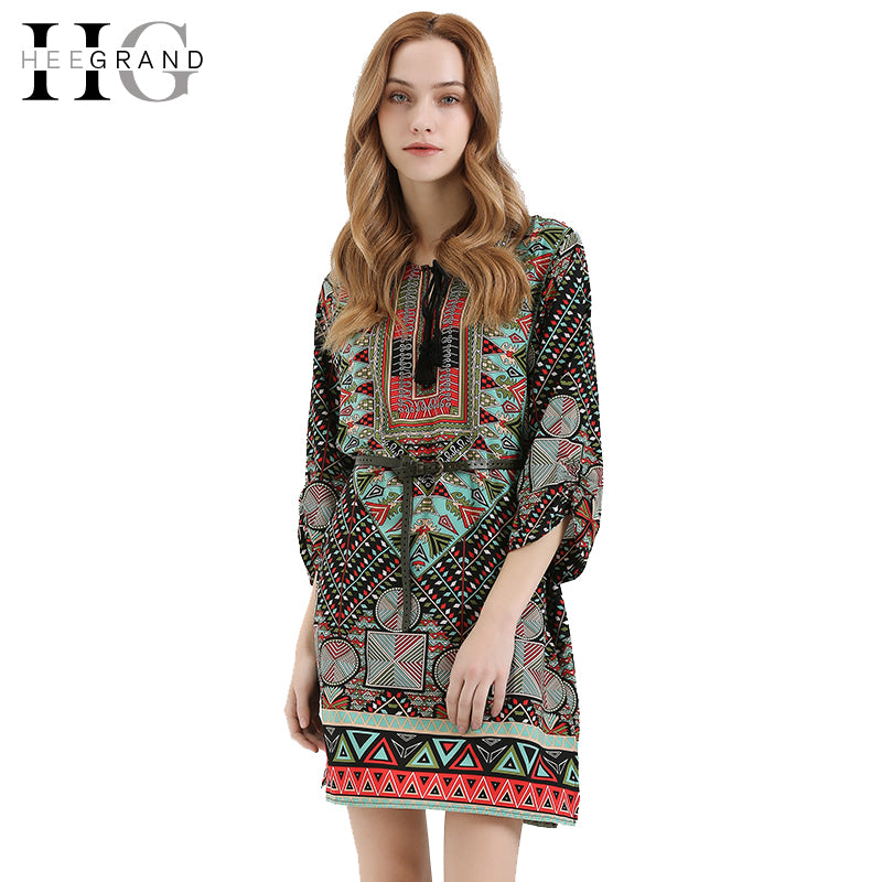 HEE GRAND 2017 Women Party Bohemian Sexy Dress O-Neck Hollow Out