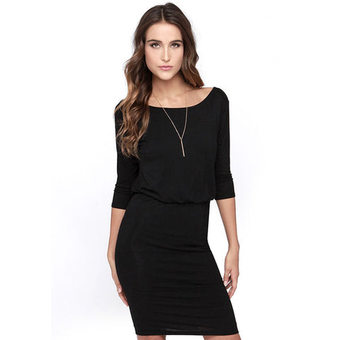 Women Autumn Elegant Work Wear Office Dress Half Sleeve Sexy Backless Ladies Tunic Bodycon Pencil Party Dresses Robe OL Dress - Monika's Dresses