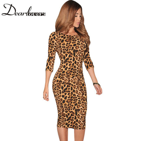 Dear lover Women Leopard animal Print Pencil Midi Dresses Low V Back women sexy Bodycon dress novidades vestidos 2017 LC6560