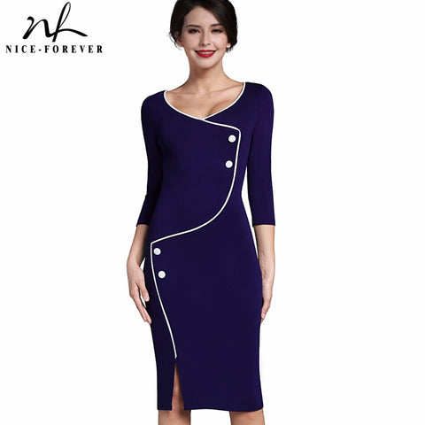 Nice-forever Vintage Brief Split Bottom Elegant Casual Work 3/4 Sleeve Deep O-Neck Bodycon Knee Women Office Pencil Dress B329 - Monika's Dresses