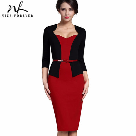 Nice-forever Stylish One-piece Faux Jacket Elegant V-neck Work dress Office Bodycon Female 3/4 Sleeve Sheath Woman Dress B328 - Monika's Dresses