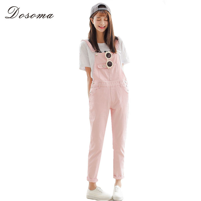 4 Colors Denim Jumpsuit 2017 Korean Preppy Style Fashion Pocket Womens Jeans Jumpsuit Girls Casual Denim Overalls Skinny Women - Monika's Dresses