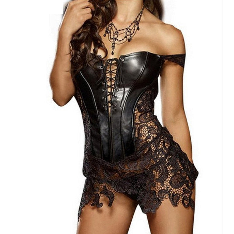 96ea6945cbe Hot Club Dress Women Sexy Clubwear Plus Size Hollow Out Leather Corset Dress  Lace Embroidery Zip