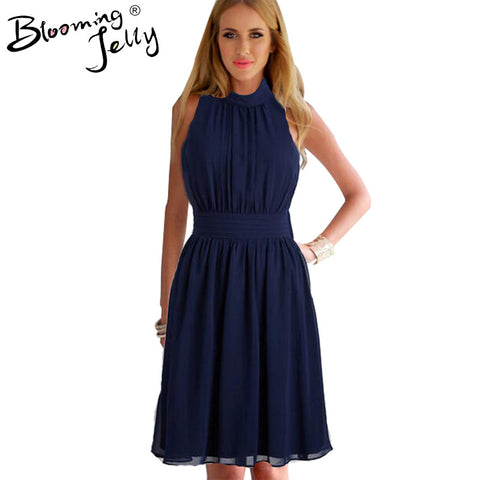 Blooming Jelly Turtle Neck Dress Ruched Navy Blue Party Knee Length Dress Chiffon Casual 2016 Elegant Navy Blue Dress Summer - Monika's Dresses