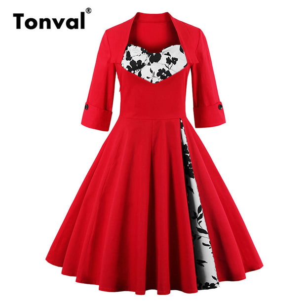 Tonval S - 5XL Elegant Dots Vintage Red Dress Women Bow Rockabilly 50s