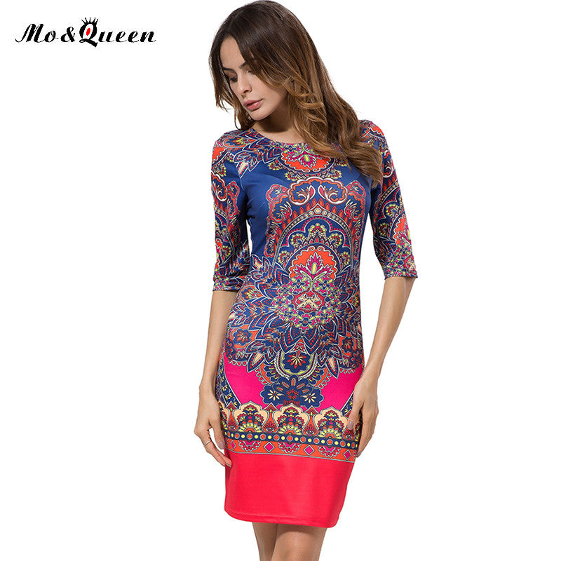 Autumn Vintage Dress 2016 New Fashion Pencil Tribal Print Dress Women Elegant Bodycon Women Dresses Short Sheath Ladies Vestidos - Monika's Dresses