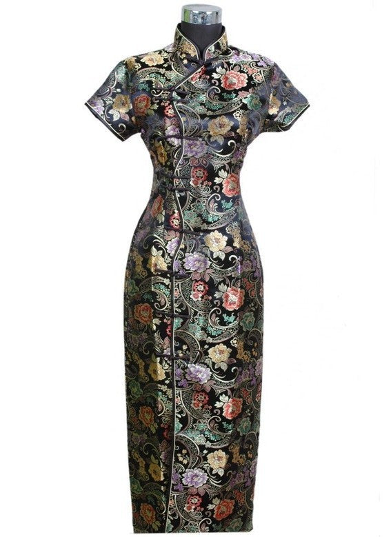 Black Chinese Women's Satin Long Qipao Halter Cheongsam Dress Flower S M L XL XXL XXXL J0024 - Monika's Dresses