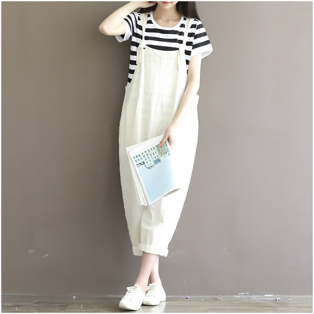 Women Casual Loose White Cotton Linen Jumpsuits Female Cute Overalls