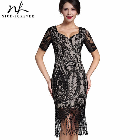 Nice-forever Sexy Lace Tassel Vintage Dress V-Neck Stylish Short Sleeve Zipper Club wear Casual Pencil Office Woman dress B337 - Monika's Dresses