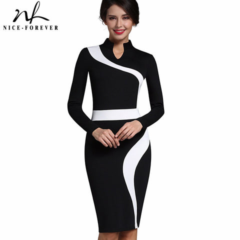 Nice-forever Vintage Patchwork Stylish Elegant Casual Work Short Sleeve V-Neck Bodycon Women Office Pencil Slim Dress B320 - Monika's Dresses