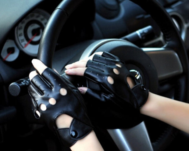 Fashion Half Finger Driving Women Gloves PU Leather Fingerless