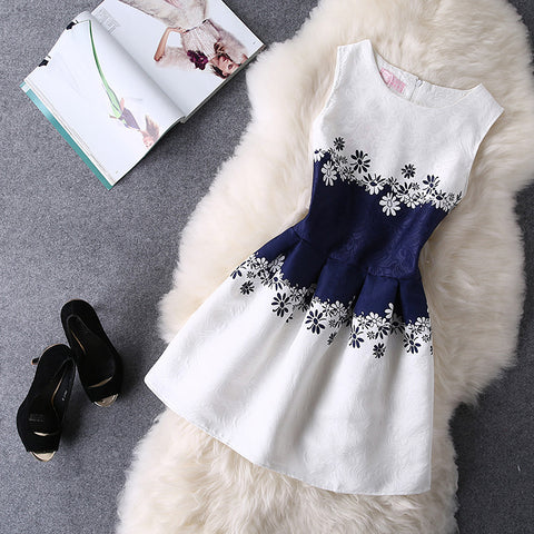 New Arrivals Vestidos 2017 Summer O-Neck Sleeveless Print Casual Dresses Women Vintage Princess Dress Ladies Party Clothing