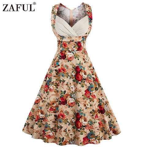 ZAFUL 2017 Vintage Women Dress Feminino Vestidos High Waist Robe Female Rockabilly Sleeveless Print Midi Retro Dresses Plus Size - Monika's Dresses