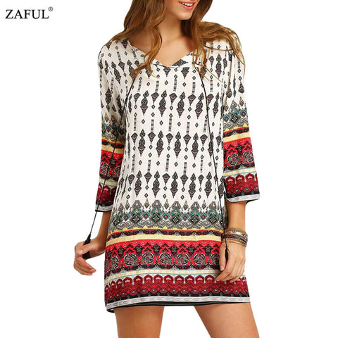 ZAFUL 2016 New Autumn Women ethnic Dress Print tassel Long Sleeve vintage dress V-neck mini Loose Casual Dress Feminino Vestidos - Monika's Dresses