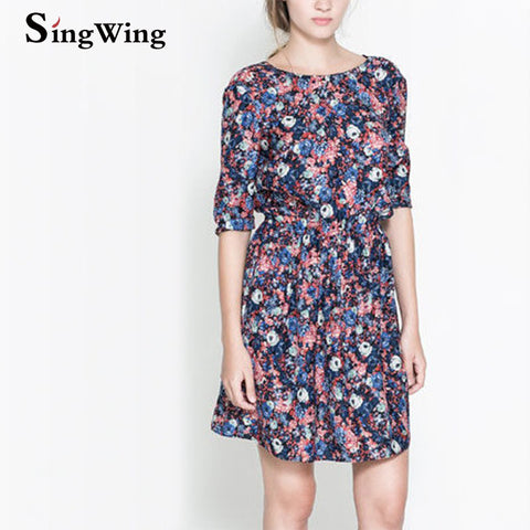 New Design Women Sexy V-Backless Dresses O-neck Printed Chiffon Half Sleeve Female Dresses