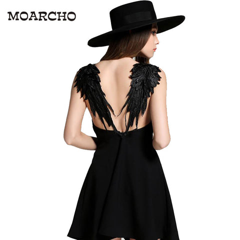 Summer Dress 2016 casual Slim Sexy Backless Black white Lace Angel Wings Beach Dresses Women spaghetti strap Vestidos de fiesta - Monika's Dresses