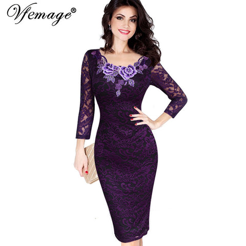Vfemage Womens Autumn Elegant Embroidery See Through Lace Party Evening Special Occasion Sheath Vestidos Bodycon Dress 4240 - Monika's Dresses