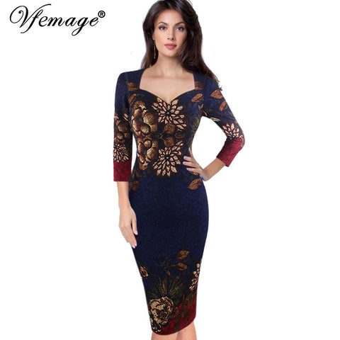 Vfemage Womens Autumn Elegant Vintage Retro Flower Print Casual Party Pencil Sheath Vestidos Dress 4237 - Monika's Dresses