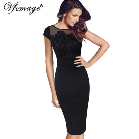 Vfemage Women Sexy Elegant Floral Crochet Lace Ruched Party Evening Sheath Special Occasion Bridemaid Mother of Bride Dress 3197 - Monika's Dresses