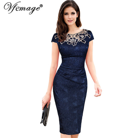 Vfemage Womens embroidery Elegant Vintage Dobby fabric Hollow out embroidered Ruched Pencil Bodycon Evening  Party Dress 3543 - Monika's Dresses
