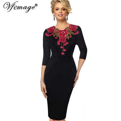 Vfemage Womens Stylish Elegant Applique embroidery Crochet V-neck Work Office Bodycon Female 3/4 Sleeve Sheath Party Dress 4241 - Monika's Dresses