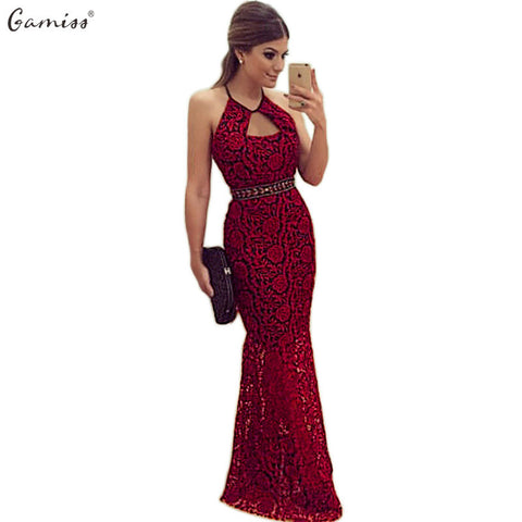 Gamiss Summer Women Casual Sexy Sleeveless Lace Evening Party Dress Female Elegant Backless Long Maxi Dress Red vestido de festa - Monika's Dresses