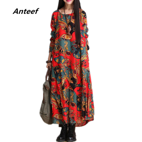fashion autumn style cotton linen vintage print  plus size women casual loose long dress party vestidos femininos 2017 dresses