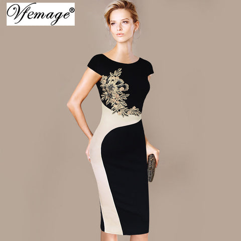 Vfemage Womens Elegant Vintage Embroidered Contrast Slim Casual Work Special Occasion Party Pencil Sheath Embroidery Dress 3973
