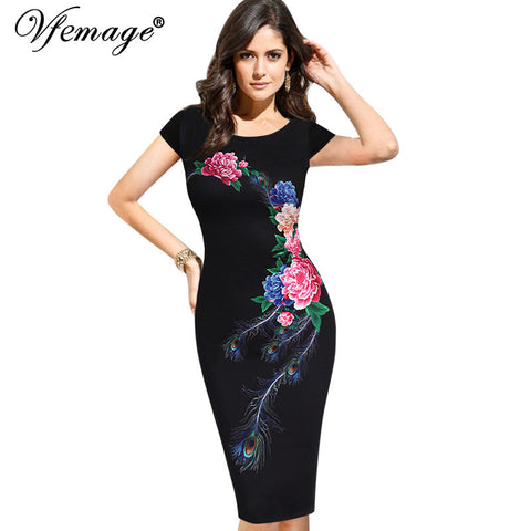 Vfemage Womens Elegant Vintage Summer Floral Flower Peacock Printed Slim Pinup Casual Party Evening Sheath Bodycon Dress 3035 - Monika's Dresses