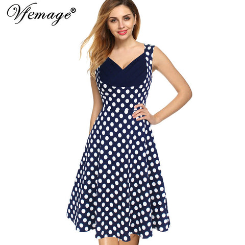 Vfemage Womens Summer Elegant Vintage Draped Frill Polka Dot Patchwork Sleeveless Casual Work Party A-Line Skater Dress 2922 - Monika's Dresses