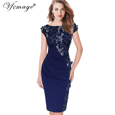 Vfemage Womens Elegant Embroidery Ruched Slim Tunic Casual Party Evening Special Occasion Sheath Pencil Bodycon Dress 4258 - Monika's Dresses