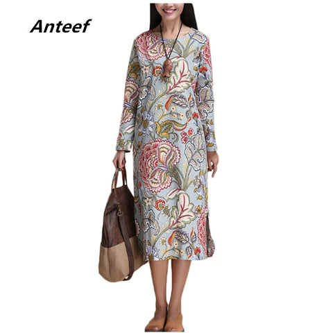 fashion cotton linen vintage print plus size women casual loose long autumn spring dress party vestidos femininas dresses 2017 - Monika's Dresses