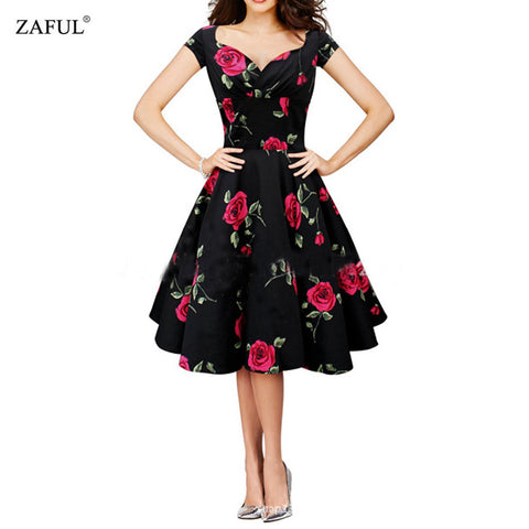 ZAFUL Women Vintage Dress Rockabilly Swing Retro Rose Floral Femino Vestidos Ball Gow Party Prom 60s Plus Size Cotton Dress