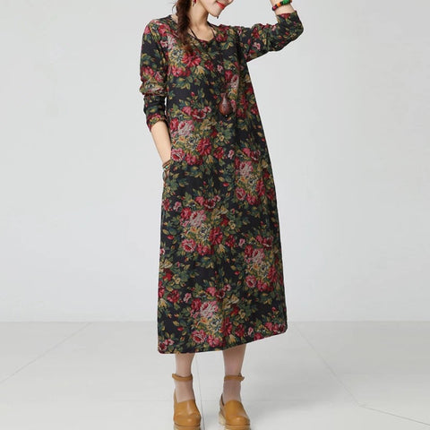 New Autumn  Ethnic Print Cotton Linen women dress Long sleeve O-Neck Casual Loose Long Dresses robe